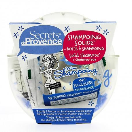 Ekologiczny szampon w kostce PRZECIWŁUPIEŻOWY + pudełko