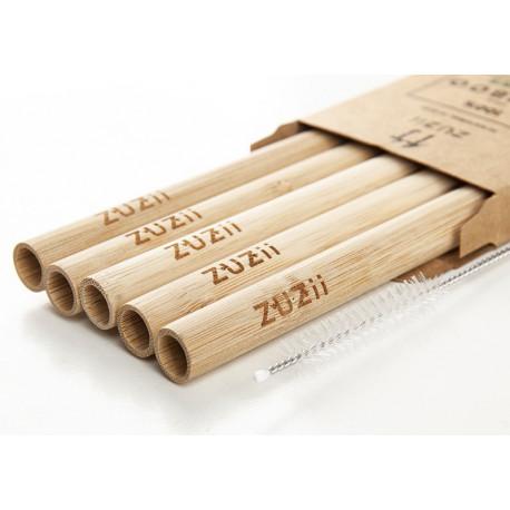 """Bambusowe wielorazowe słomki do picia gęstych napoi """"bez skóry"""""""
