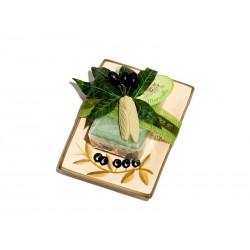 Zestaw oliwkowy: mydelniczka płaska + mydło oliwkowe