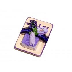 Zestaw lawendowy: mydelniczka prostokątna + mydło marsylskie